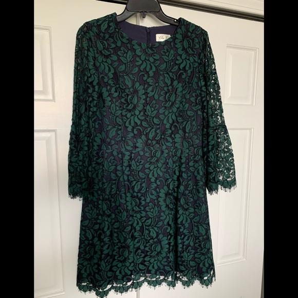 COPY - Eliza J size 12 green & navy lace fit& flare dress